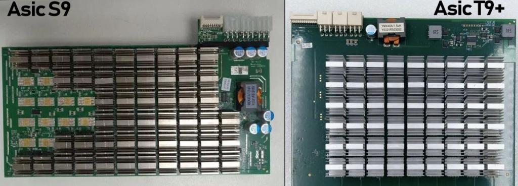Хеш платы Asic Bitmain Antminer T9+ и S9 - сравнение